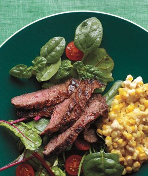 Cajun Skirt Steak With Creamed Corn