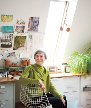 Florence Boogaerts sitting at her desk
