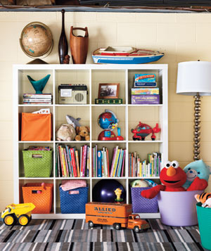 Grid shelving with kids toys