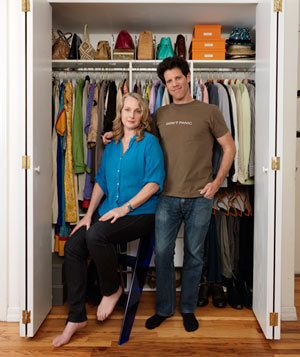 Larry Smith and Piper Kerman in front of clean closet