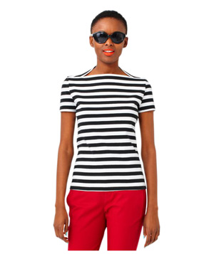 Saturday Striped Slip Neck Tee in Cotton Jersey