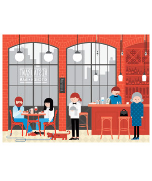 Illustration of the interior of a restaurant