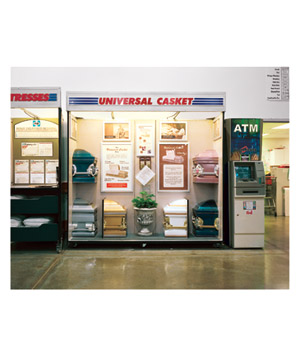 Universal casket booth and atm