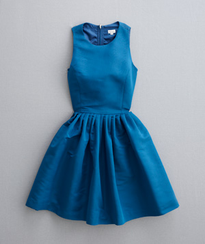 Cobalt blue dress with high neckline