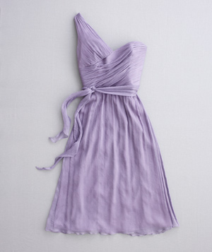 Purple dress with one-shoulder neckline
