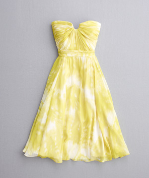 Yellow, strapless, sweetheart neckline dress