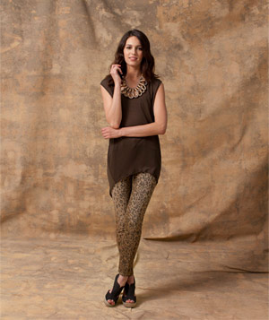 Model wearing animal-print jeggings