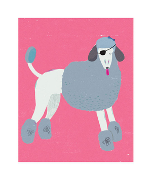 Illustration of a poodle with an eye patch