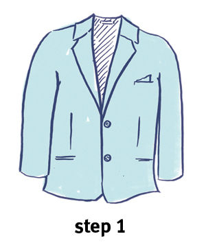 Illustration of how to fold a blazer, step 1