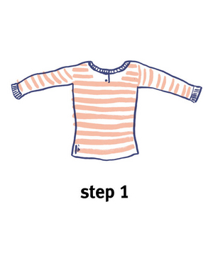 Illustration of how to roll a top, step 1