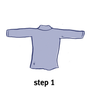 Illustration of how to bundle clothing, step 1
