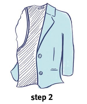 Illustration of how to fold a blazer, step 2