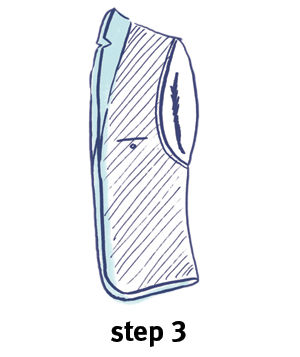 Illustration of how to fold a blazer, step 3