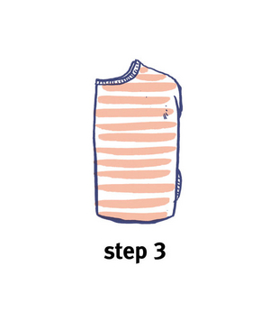 Illustration of how to roll a top, step 3
