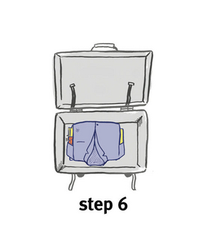Illustration of how to bundle clothing, step 6