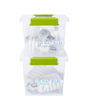 Plastic bins storing lightbulbs