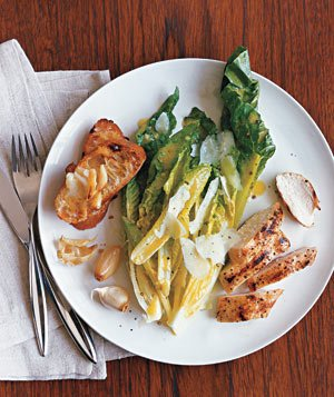 Caesar Salad With Grilled Garlic and Chicken