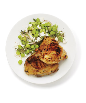Lemon and Garlic Grilled Chicken With Lima Bean Salad