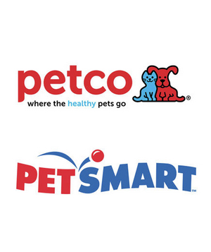 Petco and PetSmart logos
