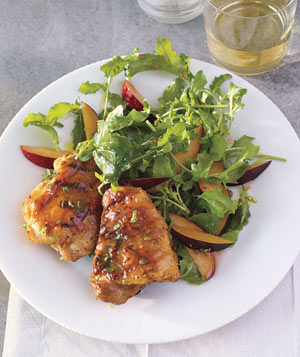 Grilled Honey-Mustard Chicken With Arugula and Plum Salad