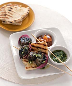Indian-Style Beef Kebabs With Cilantro Sauce, one of Real Simple's easy Indian recipes