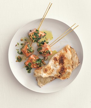 Salmon Kebabs With Cilantro Sauce