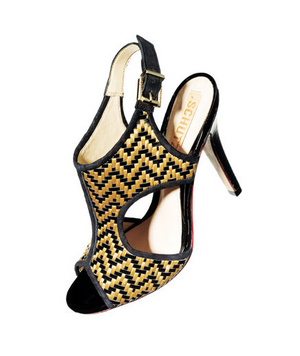 Schutz Sandals in Straw and Patent Leather