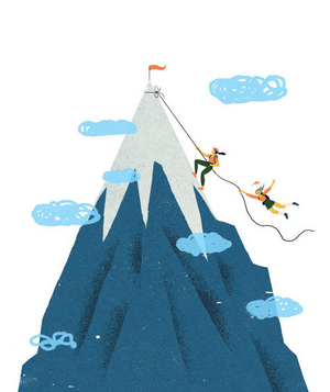 Illustration of two women climbing a mountain