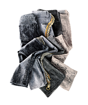 Patterned and textured jeans