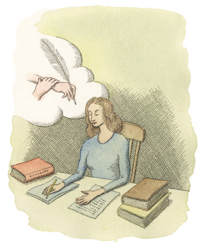 Illustration of a woman writing at a desk