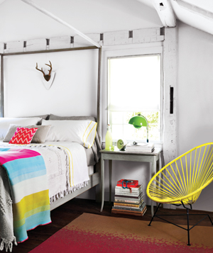 Neon decorated bedroom