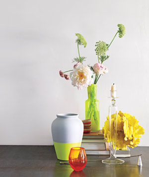 Neon vases on table