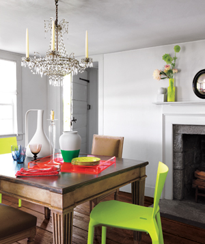 Neon decorated dining room
