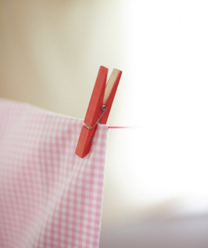 Red clothespin holding pink checkered sheet