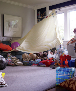 Fort In The Corner Of A Living Room