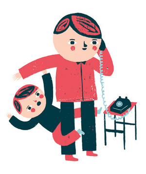 Illustration of a mother on the phone and a child hanging onto her leg