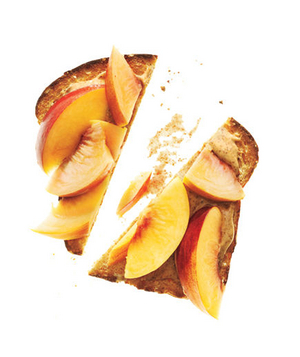 Whole-Grain Bread With Almond Butter and Peaches