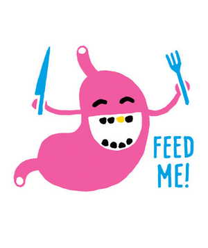 Illustration of a hungry stomach saying feed me
