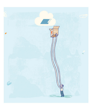 Illustration of a man with very long arms holding a box in the air