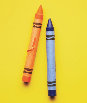 Blue and orange crayons