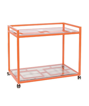 Worlds Away Hampton Orange Bar Cart