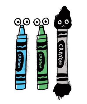 Illustration of ground-in crayon