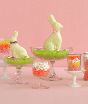 Chocolate easter bunny and jelly bean centerpiece