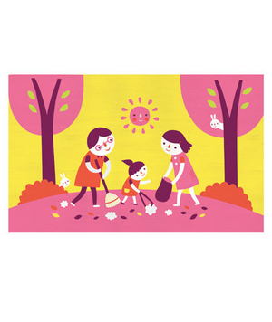 Illustration of a family volunteering together