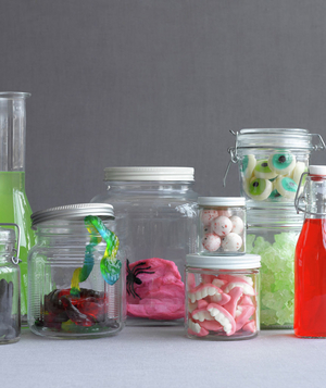 Eyeball and teeth shaped candy in jars