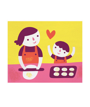 Illustration of mother and child baking together