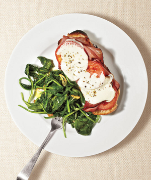 Ham and Mozzarella Melts With Sautéed Spinach