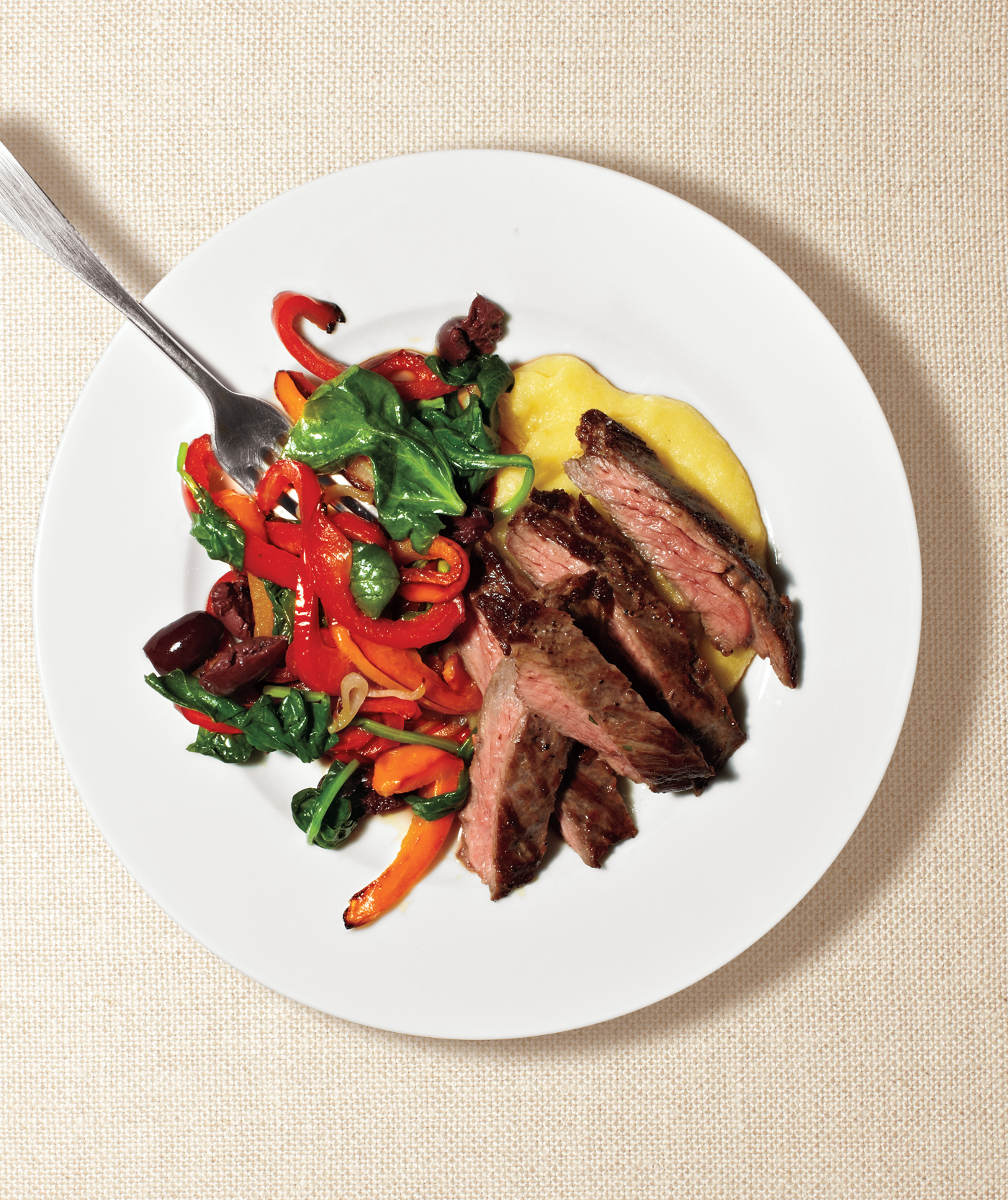 Steak With Peppers and Polenta