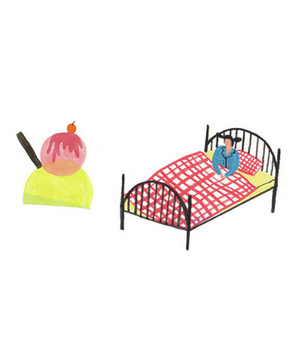 Illustration of an ice cream cone and a child in bed