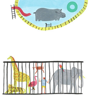 Illustration of a hippo and caged animals